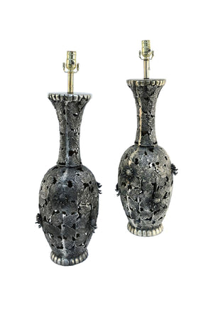 Pair of Mid-20th Century Japanese Bronze Table Lamps - ON HOLD