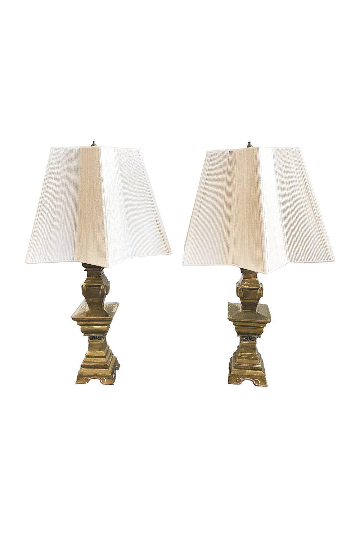 Pair of Mid-20th Century Brass Candlestick Lamps