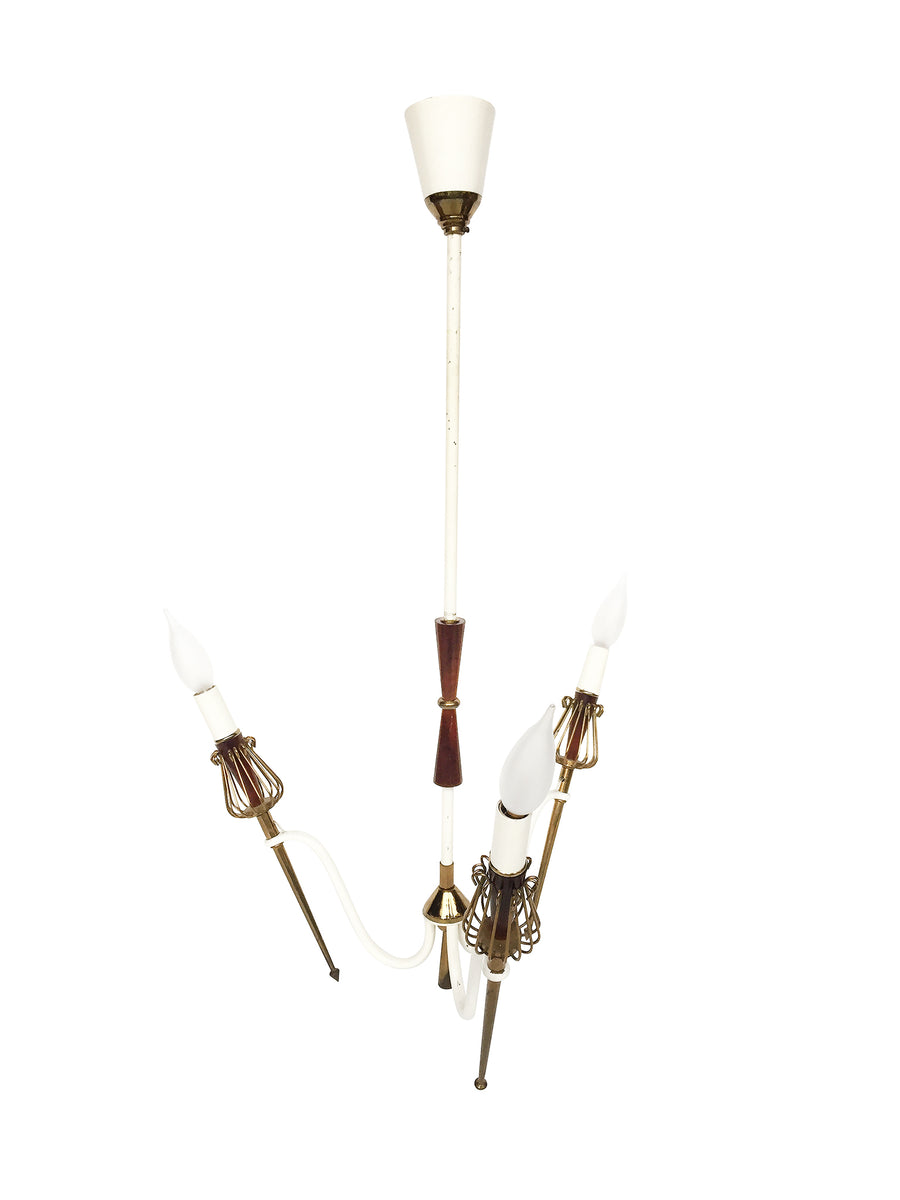 Mid-Century Brass Chandelier in the Manner of Maison Lunel
