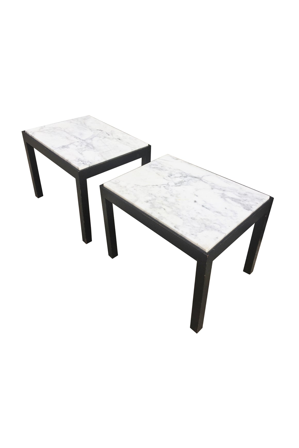 Pair of Midcentury Marble-Top Side Tables Attributed to Harvey Probber