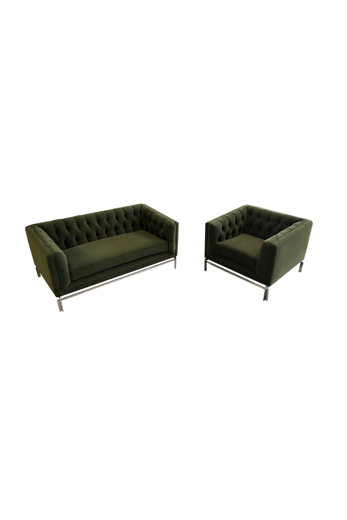 Midcentury Knoll-Style Tufted Settee & Club Chair Set