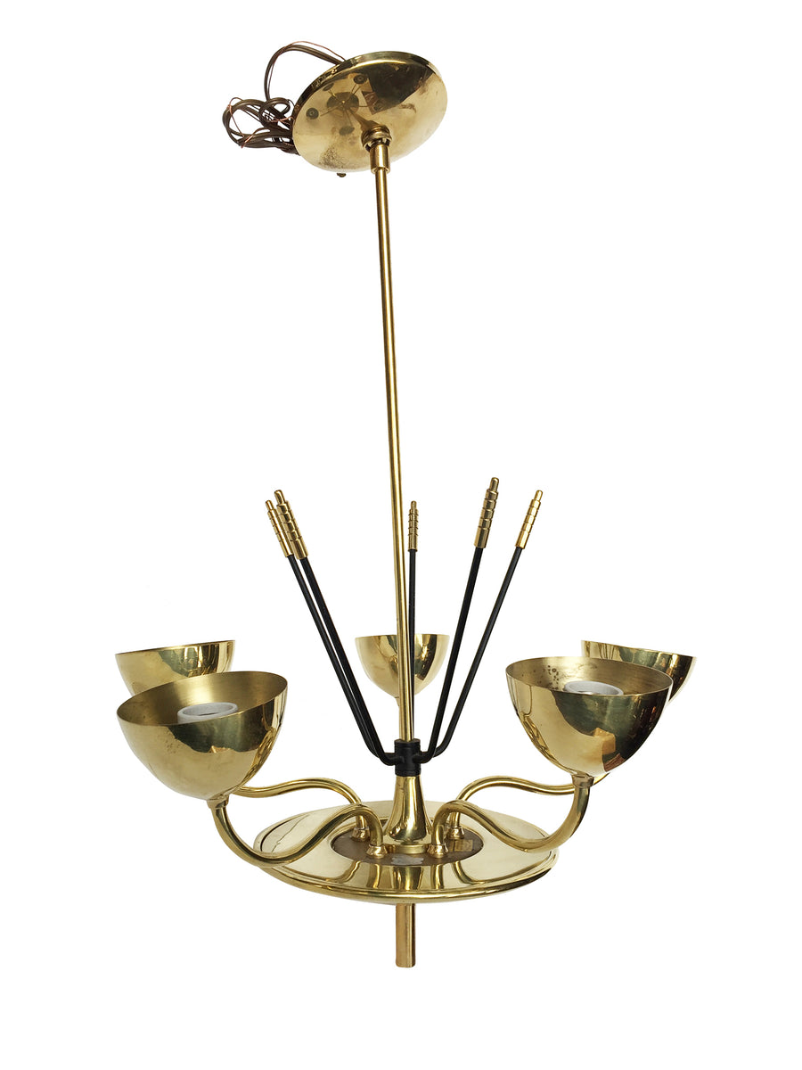 Midcentury Chromed Brass Chandelier in the Manner of Stilnovo