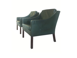 Pair of Midcentury Børge Mogensen Leather Lounge Chairs