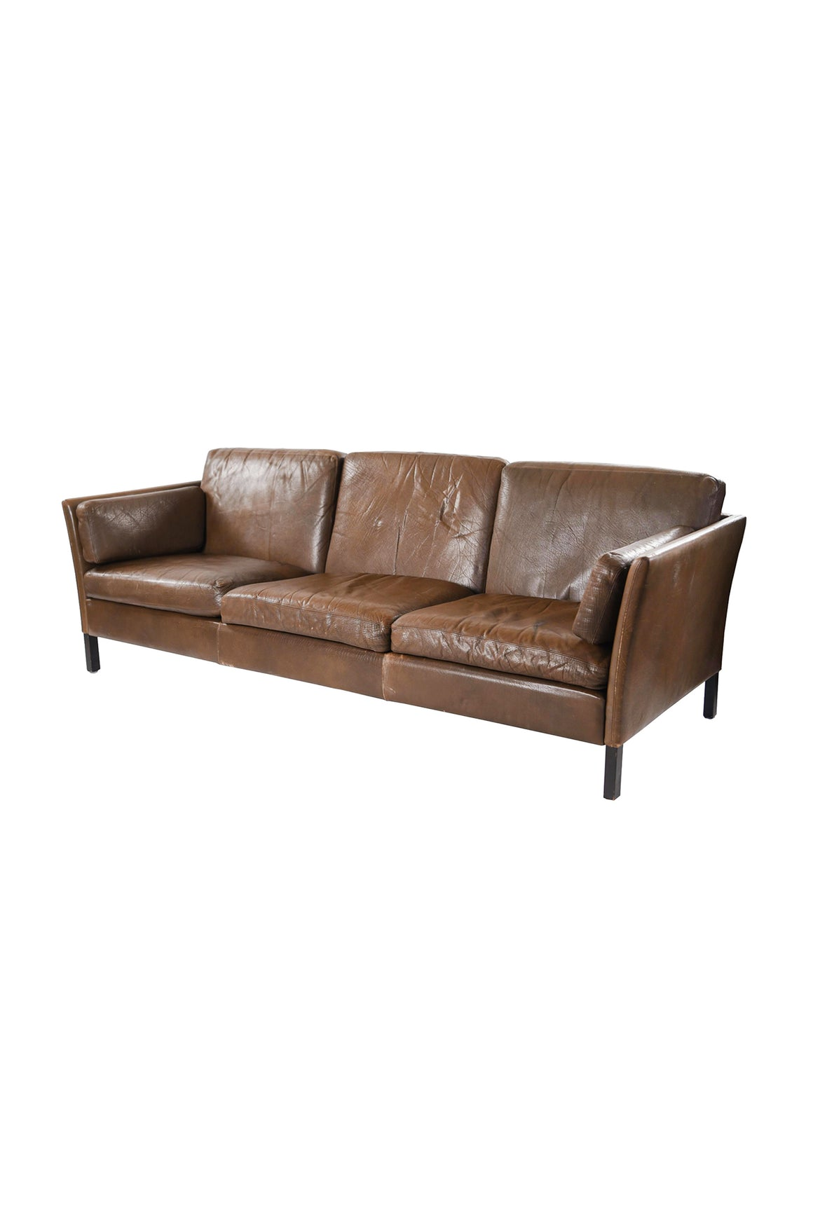 1960s Danish Modern Brown Leather Sofa by Mogens Hansen