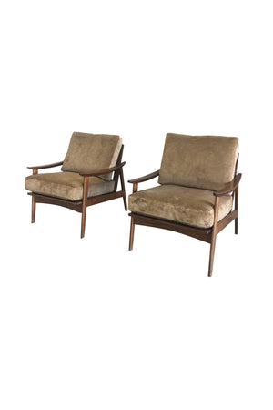 Pair of Danish Modern Armchairs with New Schumacher Velvet