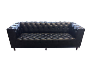 1960s Leather Chesterfield Sofa in the Style of Edward Wormley