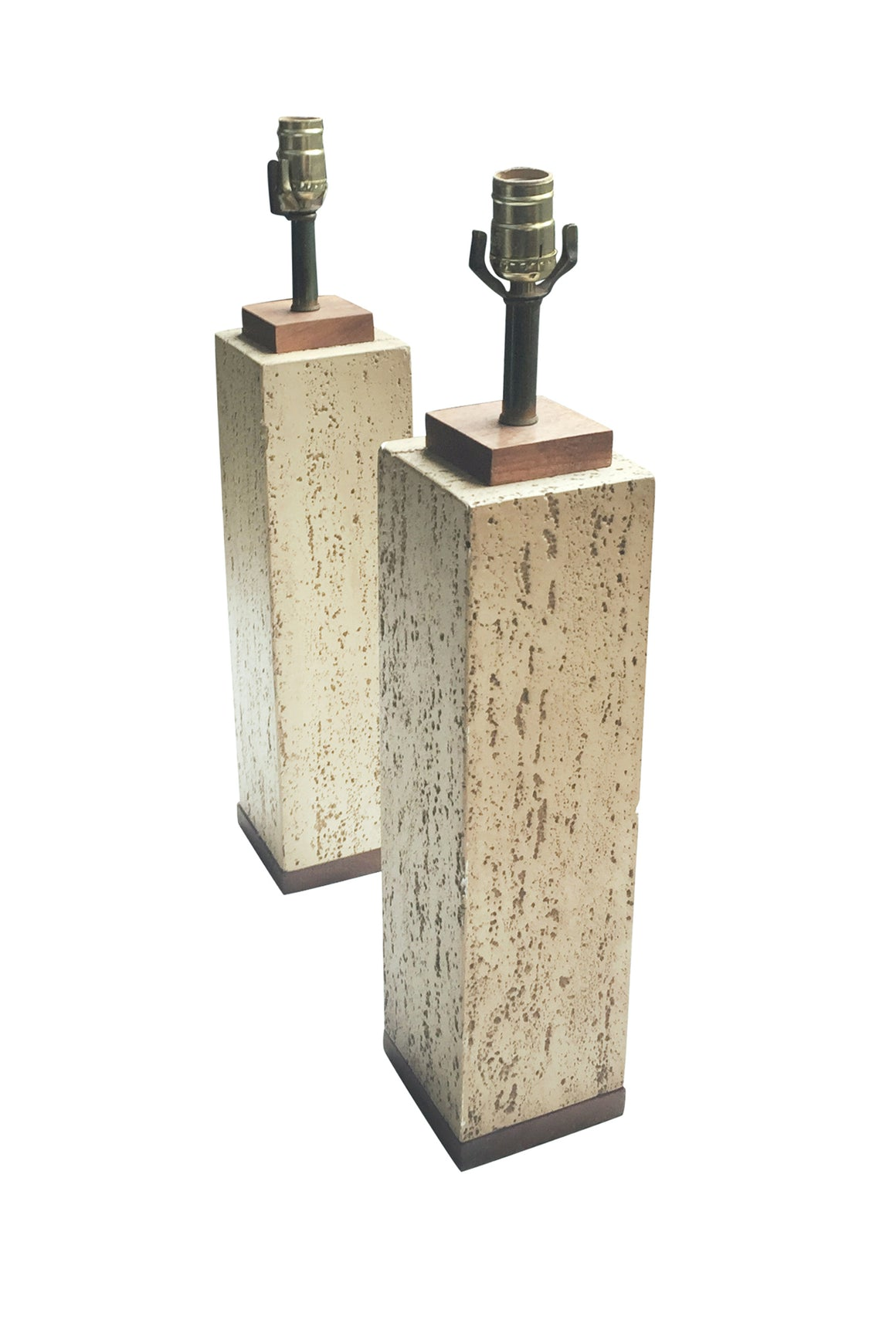Pair of 1950s Plaster Column Lamps in a Travertine Finish