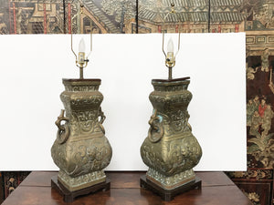 Pair of Midcentury James Mont Style Brass Table Lamps