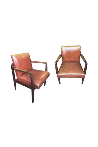 Restored Mid-Century Leather Armchairs in the Style of Jens Risom - a Pair