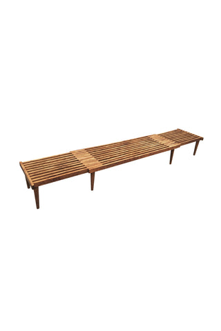 Mid-Century Modern Extending Slatted Bench-Table by John Keal
