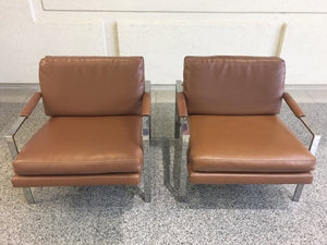 Pair of Chrome and Leather Armchairs Attributed to Milo Baughman