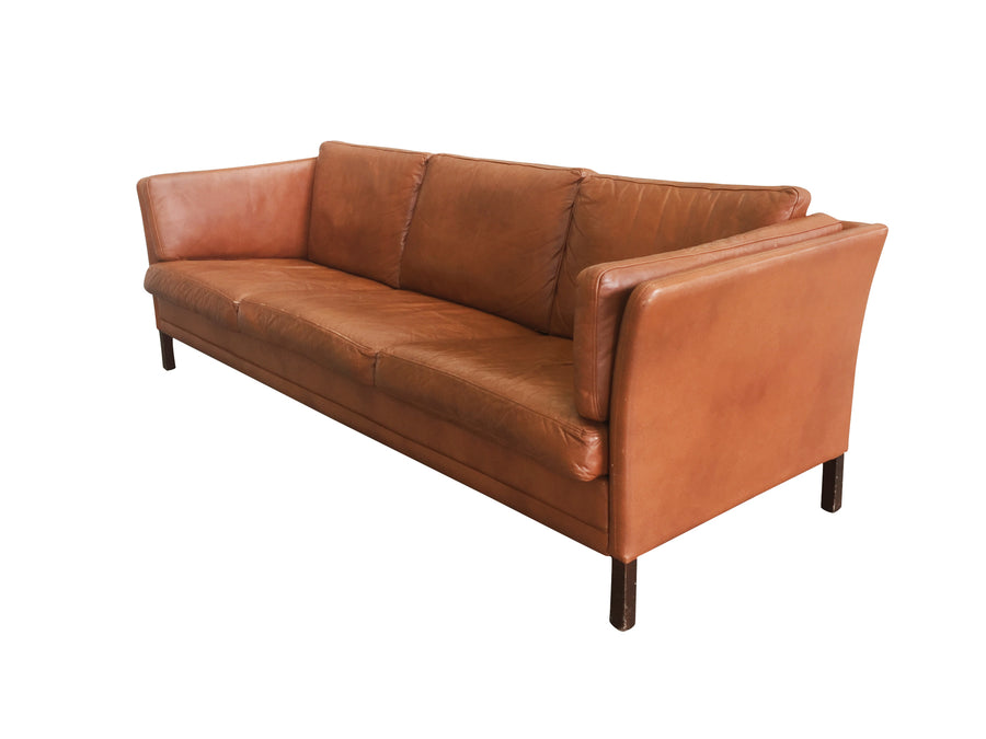 Danish Mid-Century Modern Leather Sofa by Mogens Hansen