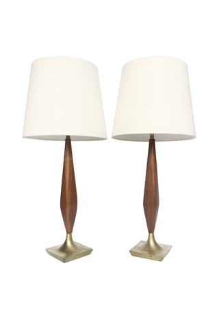 Pair of Midcentury Walnut Table Lamps in the Style of Laurel Lamp Company