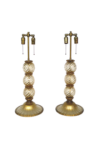 Pair of Midcentury Murano Glass Table Lamps by Barovier e Toso
