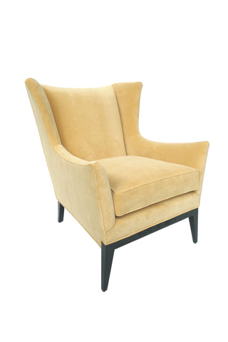 Midcentury Yellow Wingback Attributed to James Mont