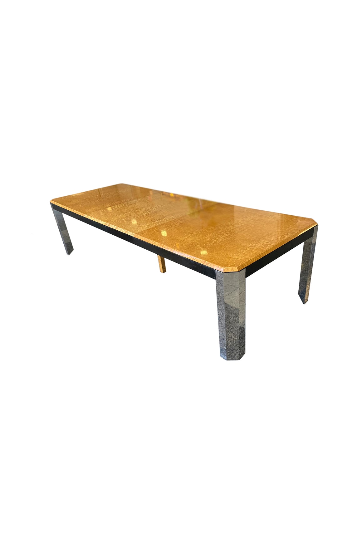1970s Burl & Chrome Dining Table Attributed to Milo Baughman