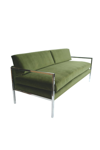 Milo Baughman Chrome and Green Velvet Sofa