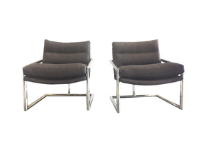 Pair of 1970s Chrome Lounge Chairs in the Style of Milo Baughman