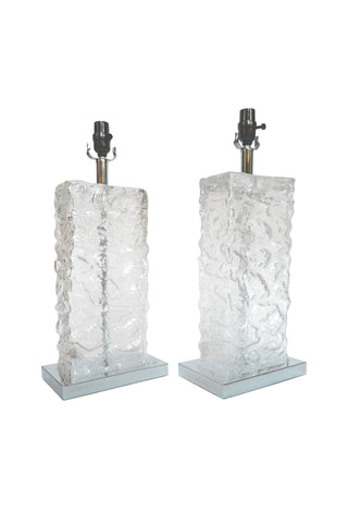 Modern Ice Cube Glass Table Lamps - a Pair