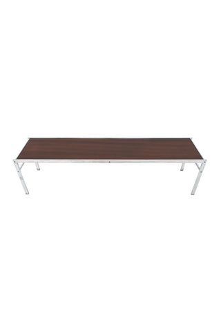 Modern Walnut & Chrome Low Coffee Table