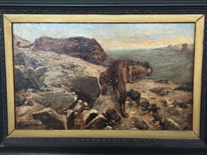 """Lions on a Hunt"" - Small Oil Painting by Montoya"