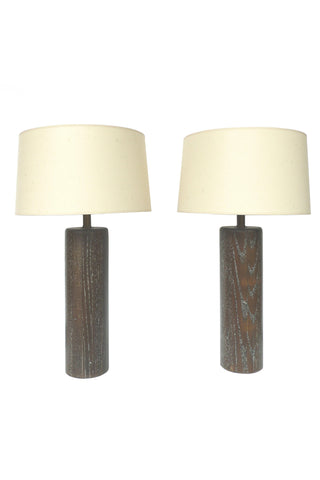 Pair of Brown Cerused Oak Table Lamps by Nessen Studios