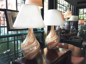 1970s Italian Swirl-Glaze Ceramic Vase Table Lamps - a Pair