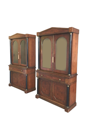 Pair of 20th Century Biedermeier Revival Bookcase Cabinets