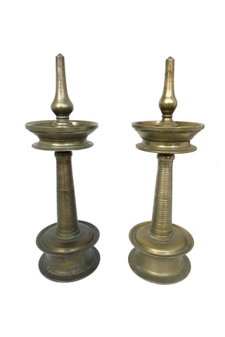 20th Century Brass Candle Forms - a Pair