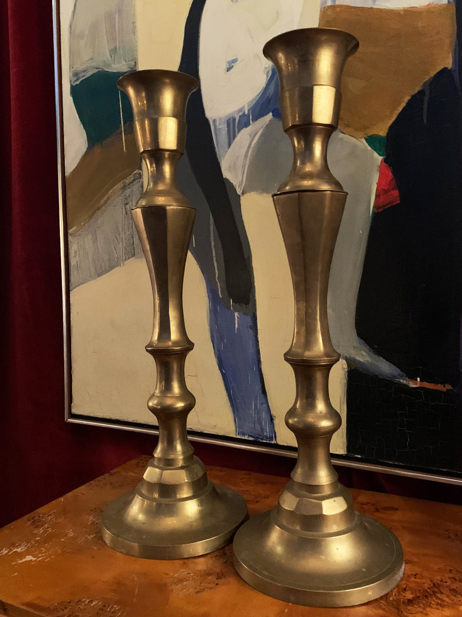Pair of Large Vintage Brass Candlesticks
