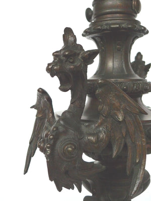 Pair of Bronze Meiji-Style Lamps