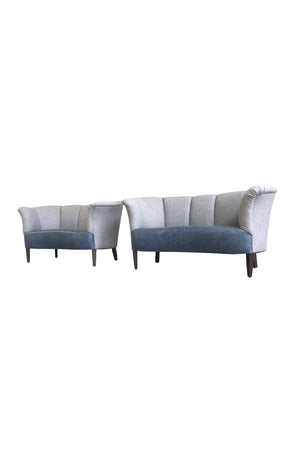 Pair of Reupholstered Danish Channel-Back Settees by Slagelse Mobelvaerk
