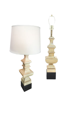 Pair of 20th Century Wood Chess Piece Column Table Lamps