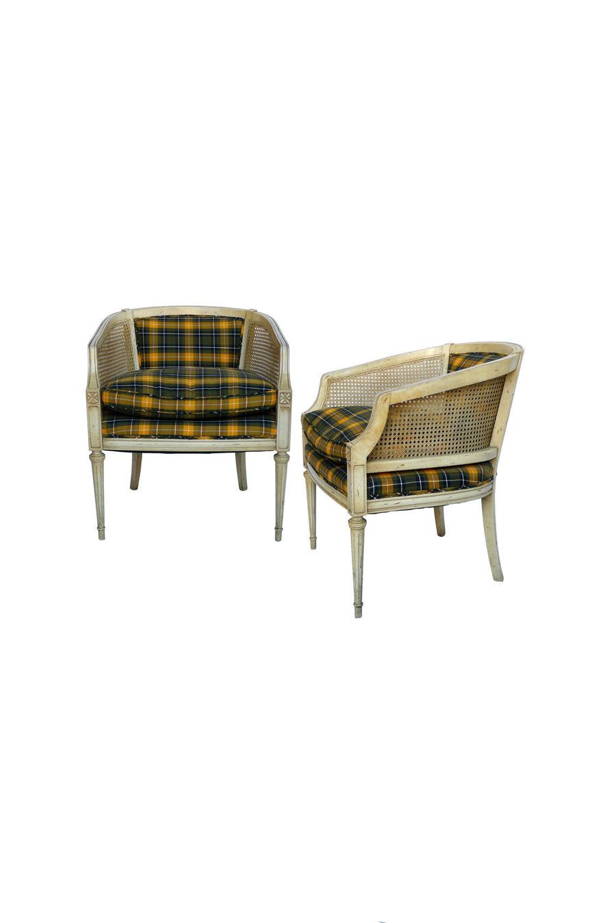 Pair of Caned Armchairs with Tartan Fabric