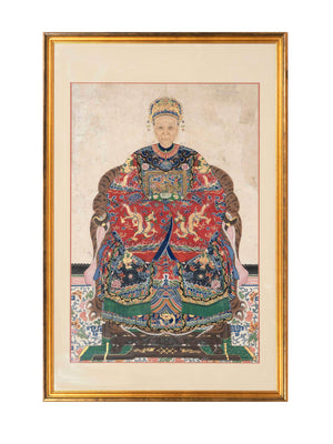 Pair of 19th Century Chinese Ancestral Portraits, Qing Dynasty Era