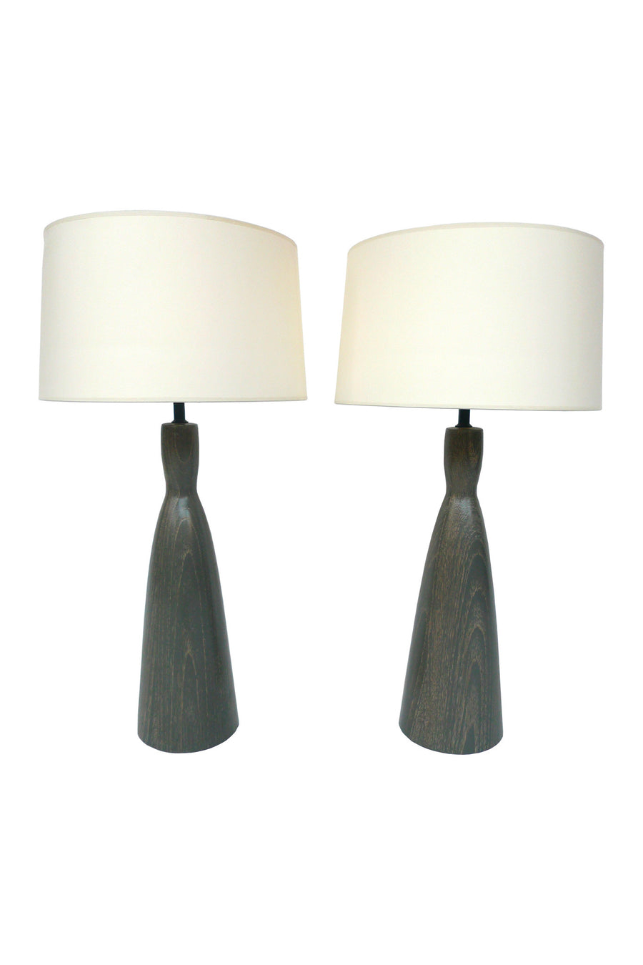 Pair of Cerused Oak Lamps