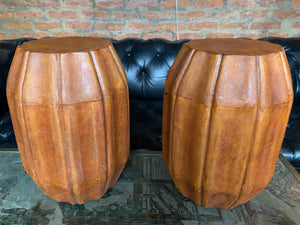 Pair of Midcentury Shagreen Pedestal Stools Side Tables