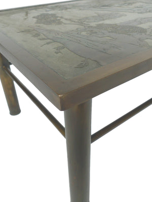 Philip & Kelvin Laverne Etched Bronze Coffee Table - ON HOLD