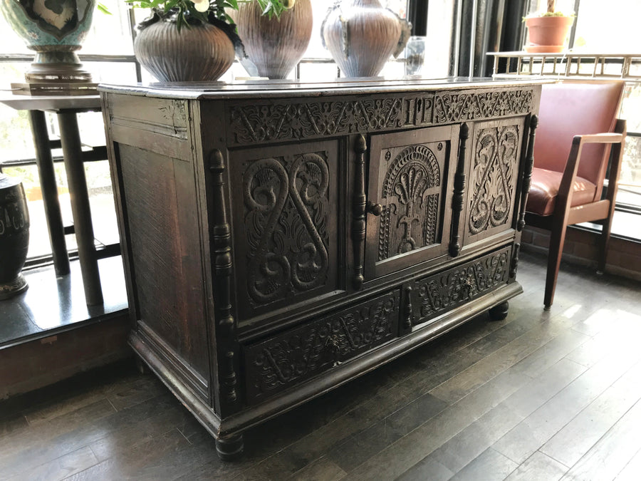 Antique Carved Black Oak Pilgrim's Trunk
