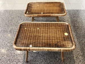 1950s Rattan Side Tables Attributed to Isamu Kenmochi - a Set of 2