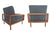 Mid-Century Walnut Sofa and Armchair Set by T.H. Robsjohn-Gibbings