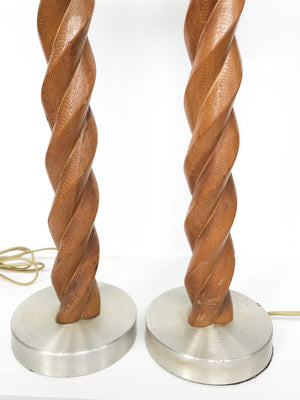 Pair of Midcentury Russel Wright Spiral Oak Table Lamps