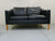 Stouby Black Leather Settees in the Style of Børge Mogensen - Set of 3