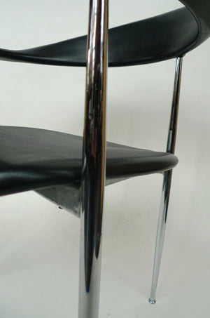 1980s Chrome & Black Rubber Dining Chairs by Fasem - a Set of 6
