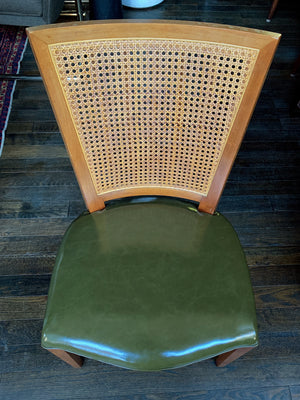 Baker Beech and Faux Leather Chairs With Caning - a Set of 4