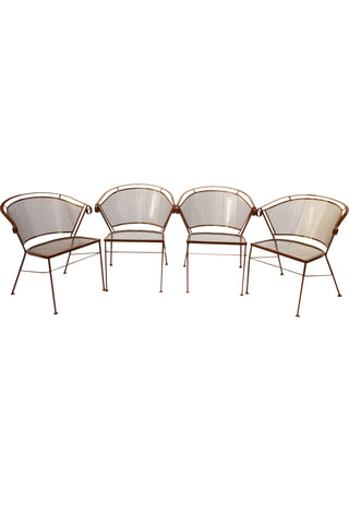 Set of 4 Brown Iron Patio Chairs