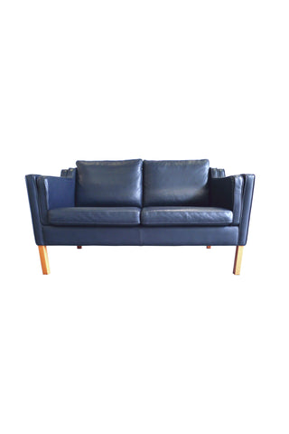 Stouby Blue Leather Settee in the Style of Børge Mogensen