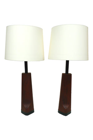 Teak Table Lamps - A Pair