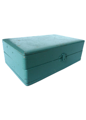 Teal-Painted Wooden Box