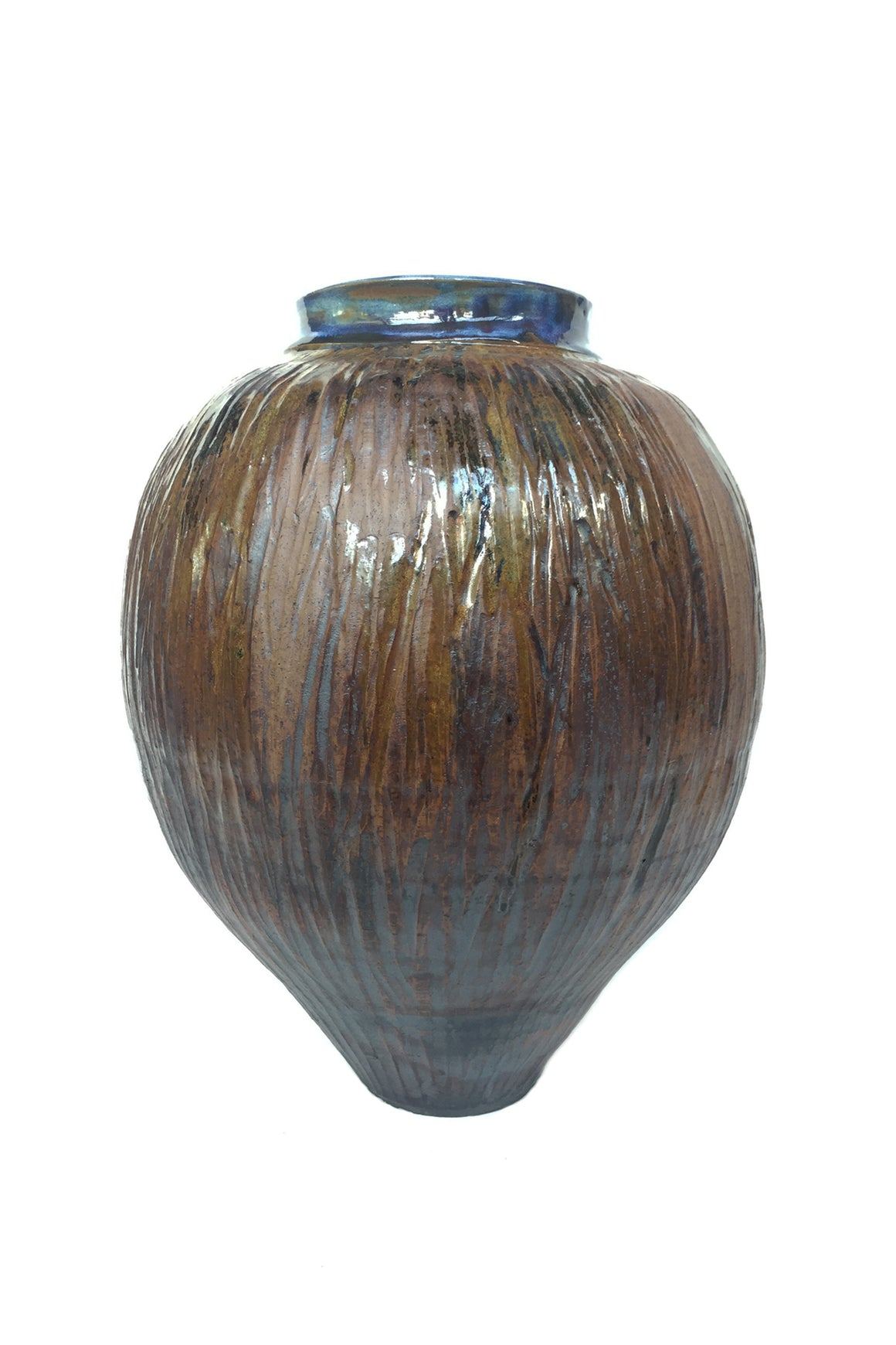 Thom Lussier Glazed Ceramic Urn With Blue Interior